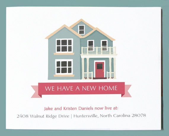 New Home Announcement Postcard Cute Moving Announcement Change Of