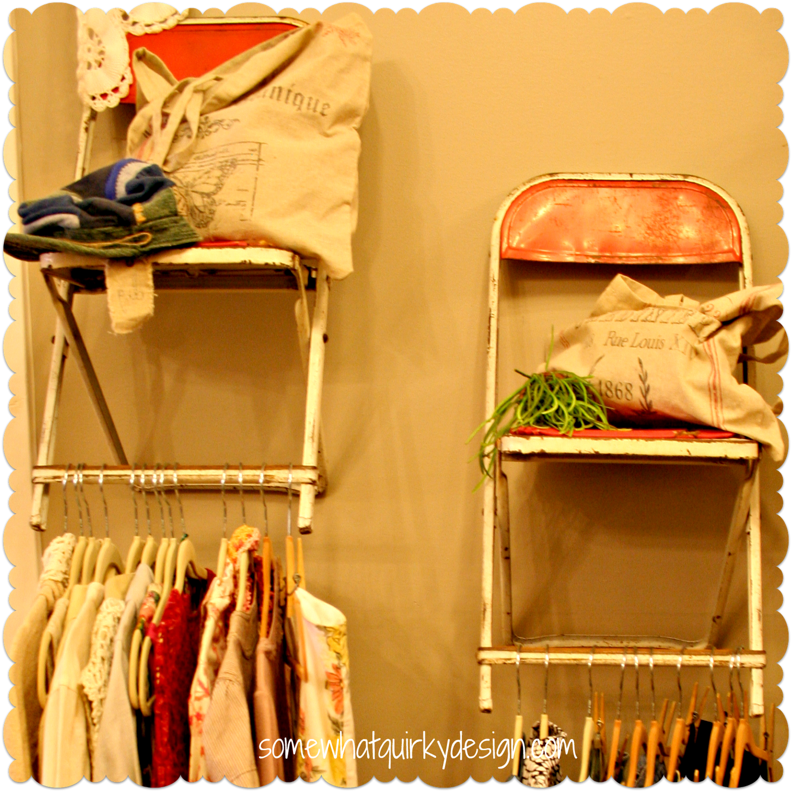 folding chair rack diy white terry lounge covers use old chairs as shelving home decor pinterest