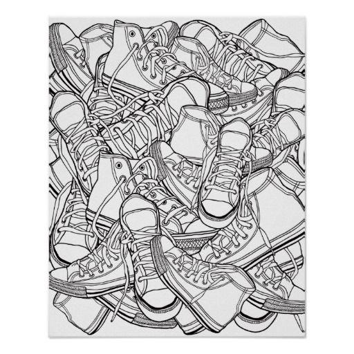 Las zapatillas de deporte retras urbanas negras y | Zentangle ...