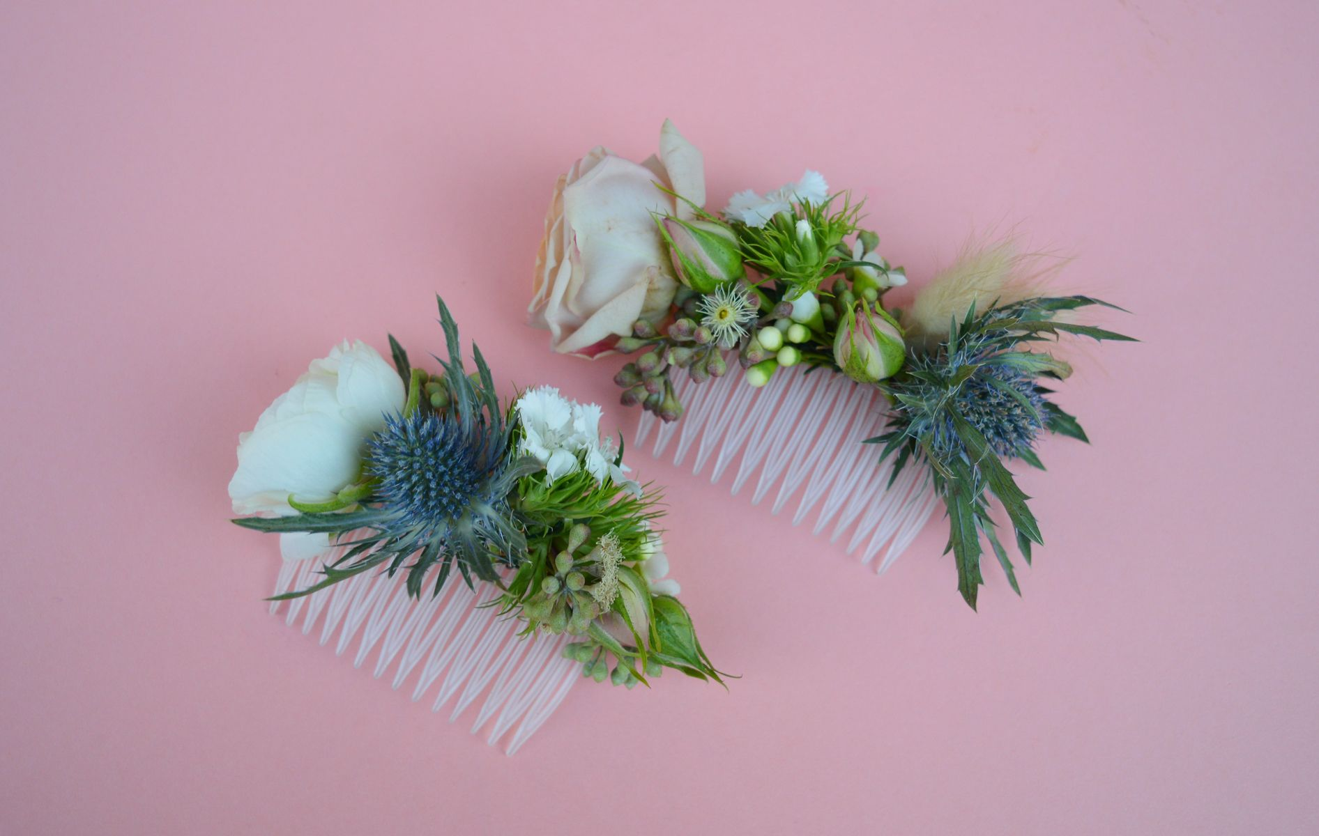 Elegant floral hair combs featuring thistles lisianthus