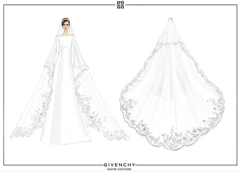 Meghan Markle Wedding Dress Details How Givenchy S Clare Waight Keller Designed Roy Meghan Markle Wedding Dress Wedding Dress Sketches Wedding Dress Drawings
