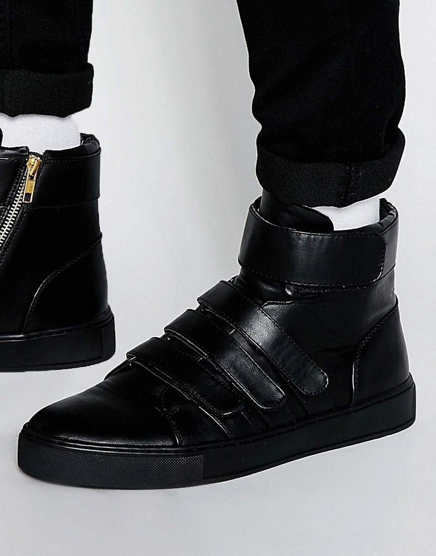 Mega cool ASOS Hi-Top Trainers in Black With Velcro Straps - Black ASOS Løbesko til Herrer til enhver anledning