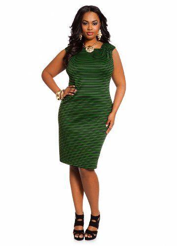 Ashley Stewart Women's Plus Size Asymmetrical Techno Striped Sheath Dress for only $27.65 You save: $11.85 (30%) + Free Shipping