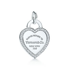 Return to Tiffany™ heart tag charm of 18k white gold and diamonds.