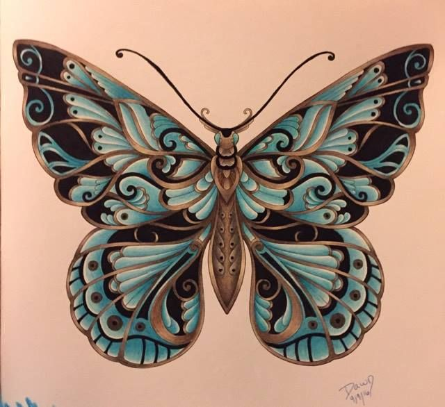 Magical Jungle By Johanna Basford Butterfly Colored By Dawn Magical Jungle Johanna Basford Butterfly Art Butterfly Drawing