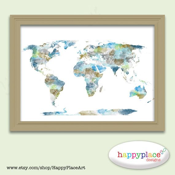 Watercolour world map poster large world map with watercolor large world map printable image in earthy colours of greens tans and blues gumiabroncs Gallery