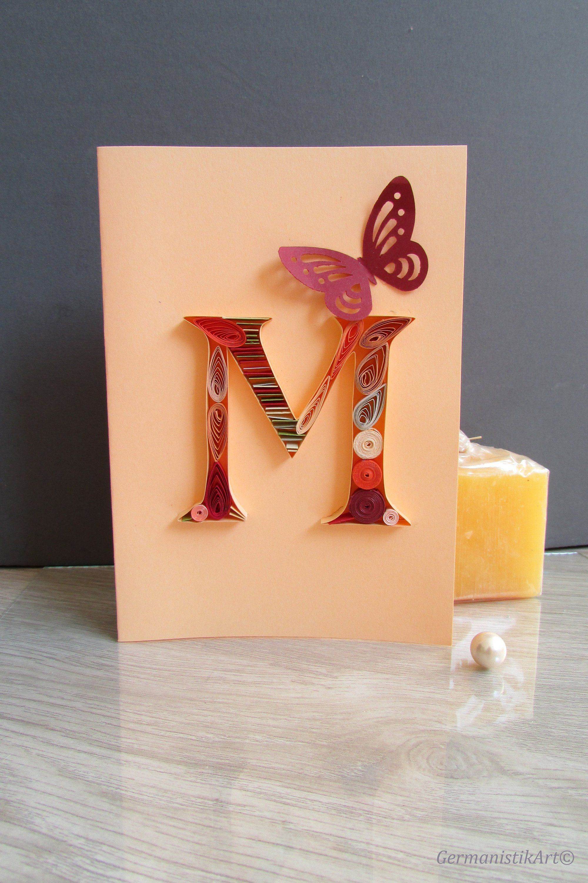 Personalized M Initial Letter Birthday Card Paper Quilling Etsy Quilled Paper Art Quilling Paper Quilling