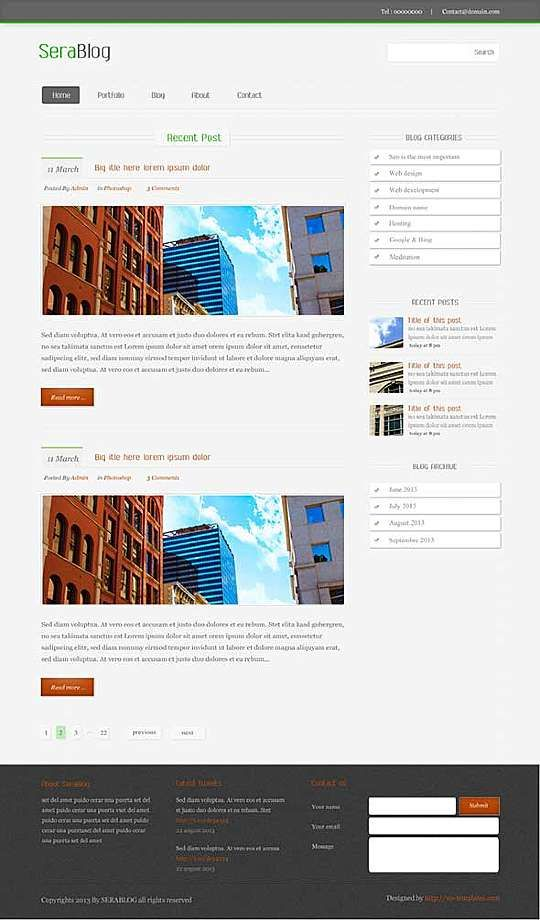Blog Website Templates Serablog  A Handcoded Blog Web Template Built On Html5 & Css3