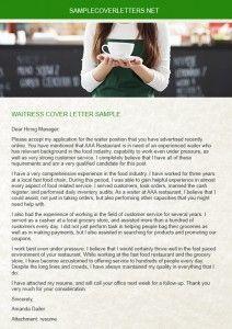 Waitress Cover Letter Cover Letter Sample Lettering Cover