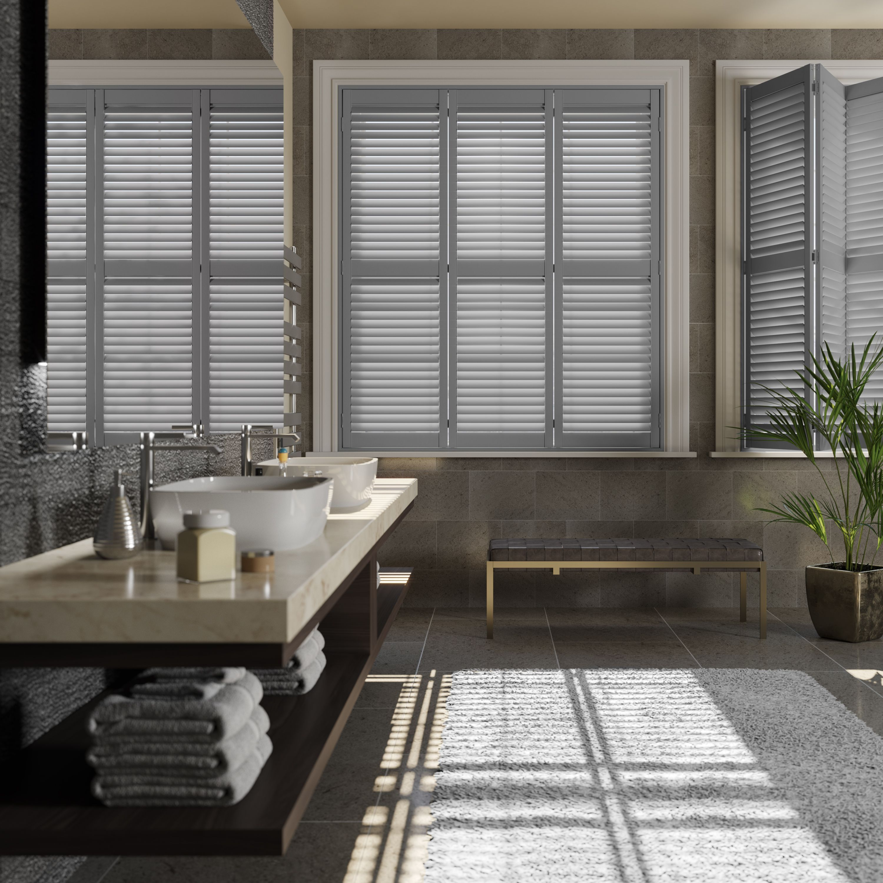 French grey bathroom shutters from blinds2go shutters