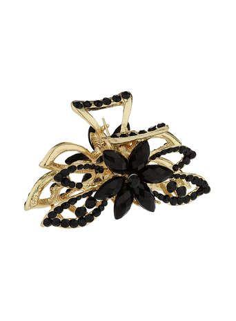 Black Flower Claw Clip