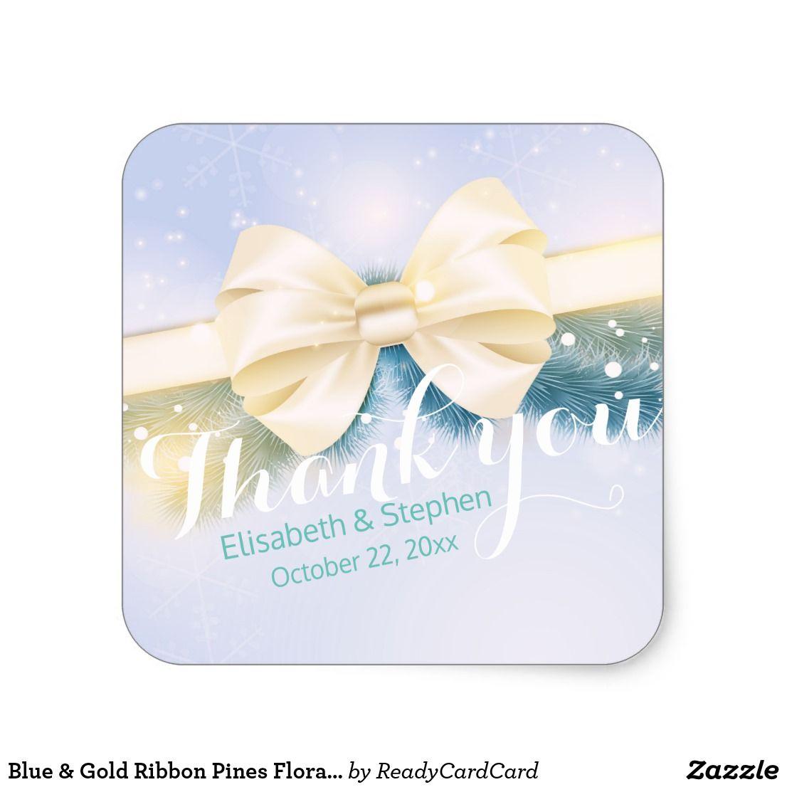 Blue Gold Ribbon Pines Fl Wedding Thank You Square Sticker Elegant Vintage Modern Chic