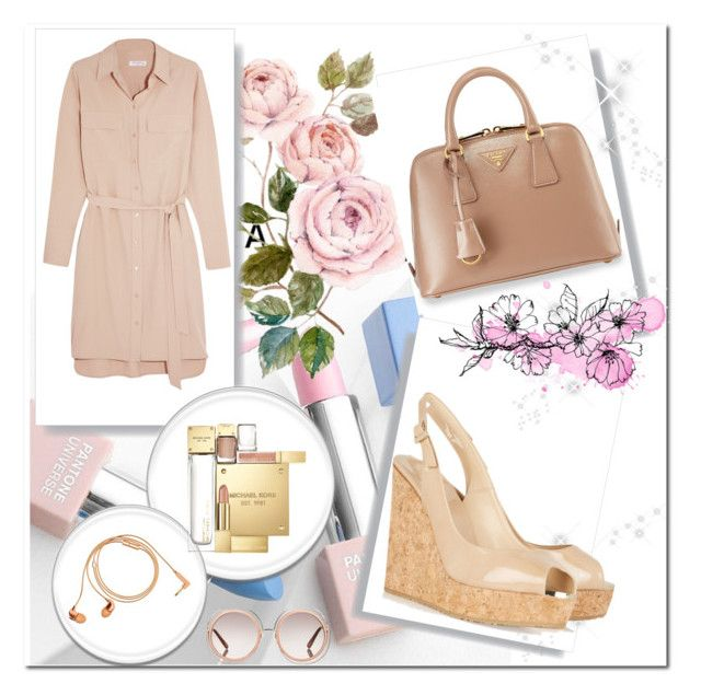 """Nude and ladylike."" by petitemia ❤ liked on Polyvore featuring Equipment, Chloé, Michael Kors, Happy Plugs, Prada, Jimmy Choo, Sephora Collection and Karlsson"
