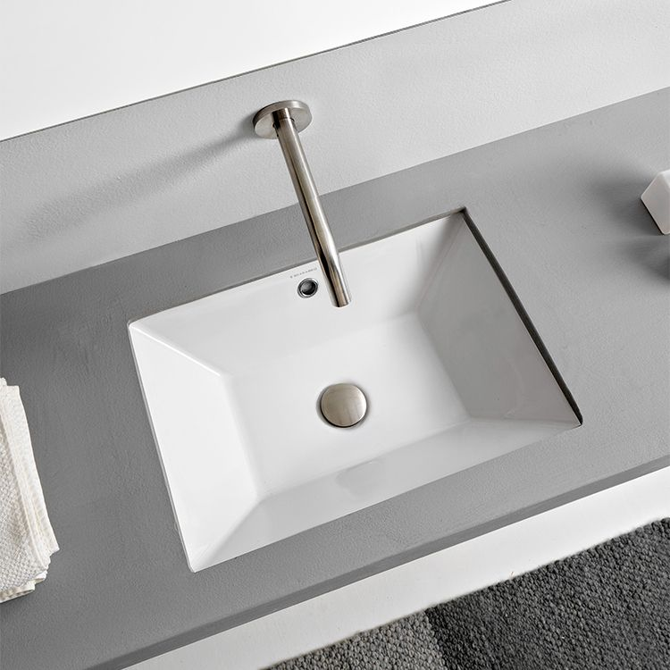 Rectangular White Ceramic Undermount Sink Ceramic Undermount
