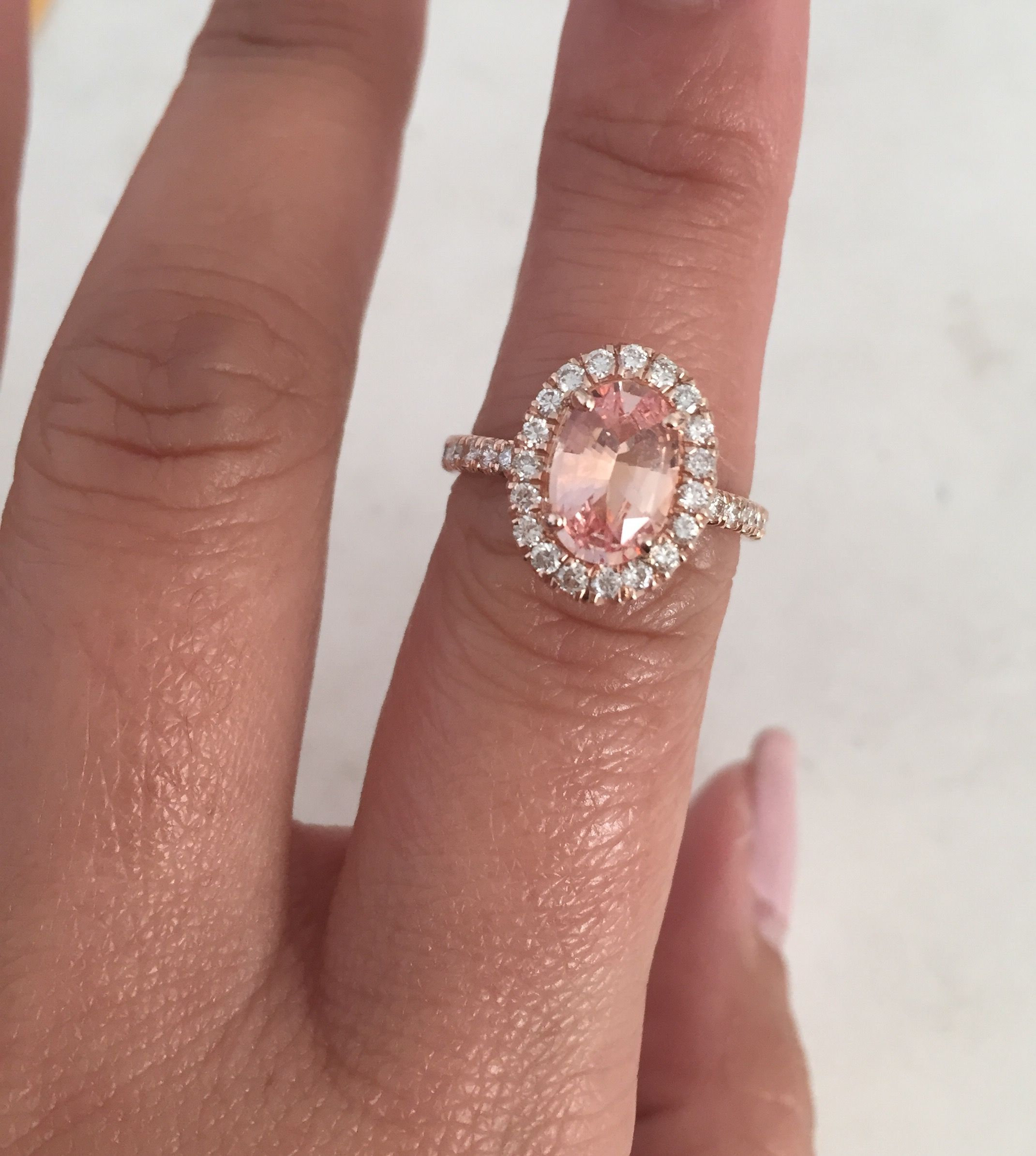 sarah custom oval full cojs pink order wedding ring paid laurie set peach rose gold and halo in for product designs engagement diamond sapphire