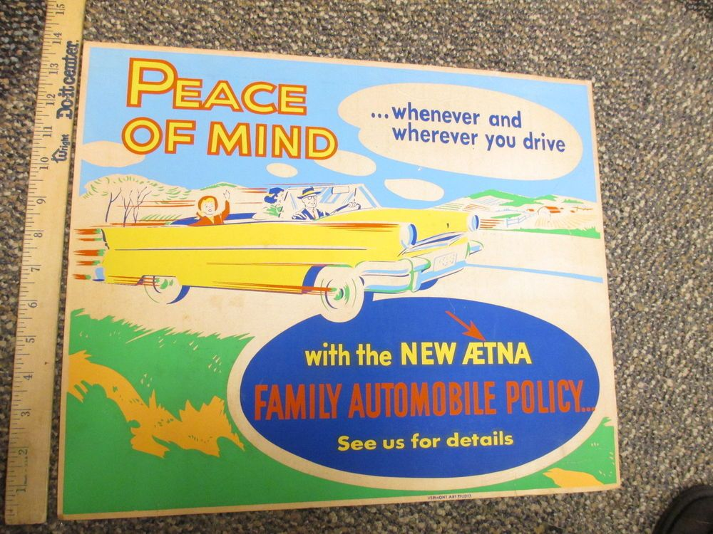 AETNA 1950s cardboard sign silk screen family car
