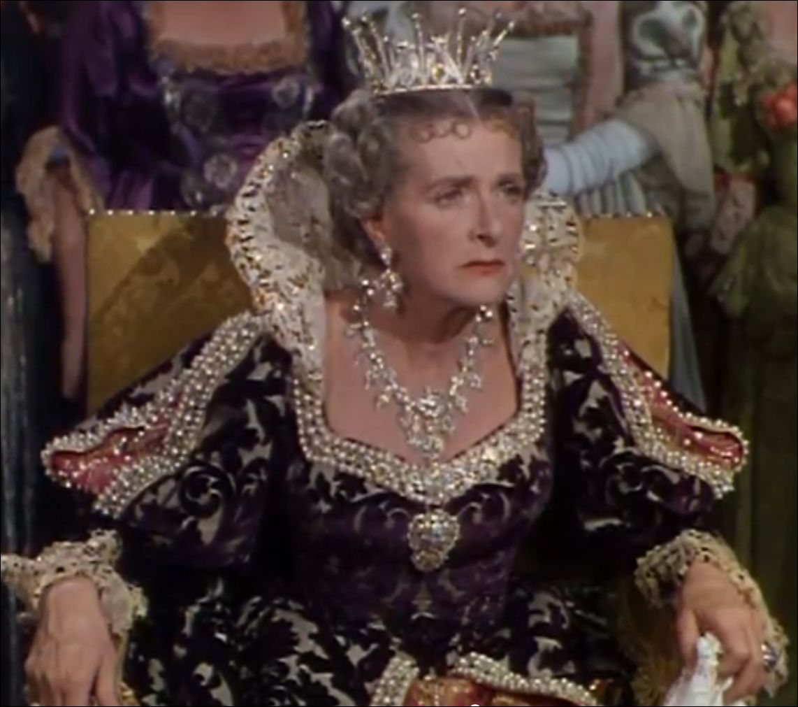 This elaborate costume, was designed by Edward Stevenson for Maureen O'Hara in the 1945 film The Spanish Main, where she played the character of Contessa Francesca.  The gown was pulled again for use in the 1952 film At Sword's Point, where it was worn on Gladys Cooper as Queen Anne. The gown was one of the many pieces sold by Debbie Reynolds several years ago.