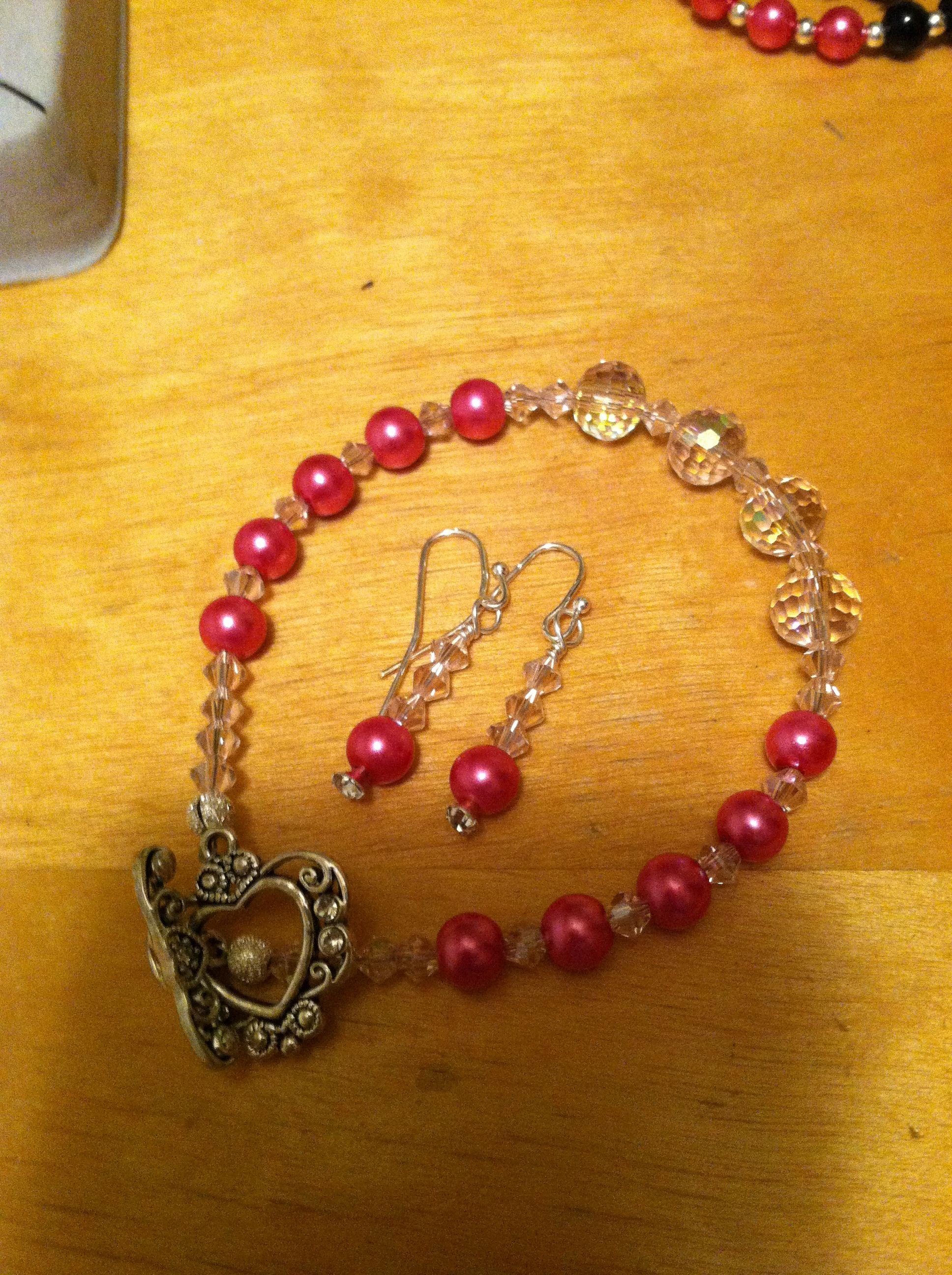 Pink bracelet and earrings
