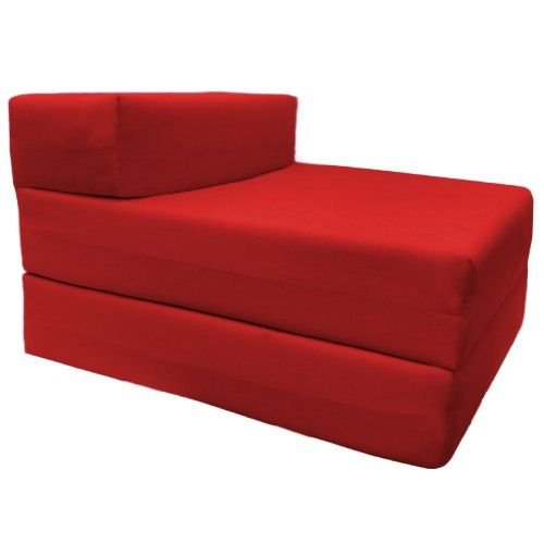 Comfortable Supreme Quality 100 Cotton Single Fold Out Z Bed Chair Futon In Red Soft Lightweight With A Removeable Cover