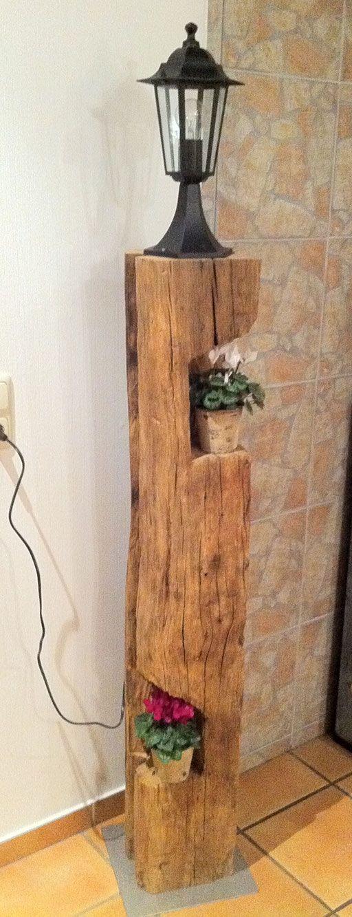 Stehlampen aus alten balken alt mit neu pinterest - Alte balken deko ...