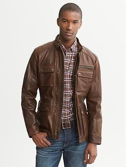 ba4370691 Heritage Brown Leather Jacket | Banana Republic | Me time | Jackets ...