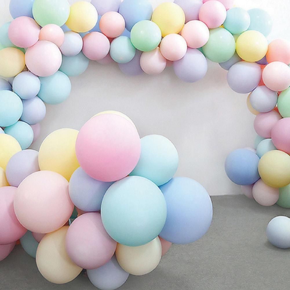 """5 x Pastel POM POM BALLOONS 12/"""" Latex Birthday Party Baby Christening Shower 1st"""