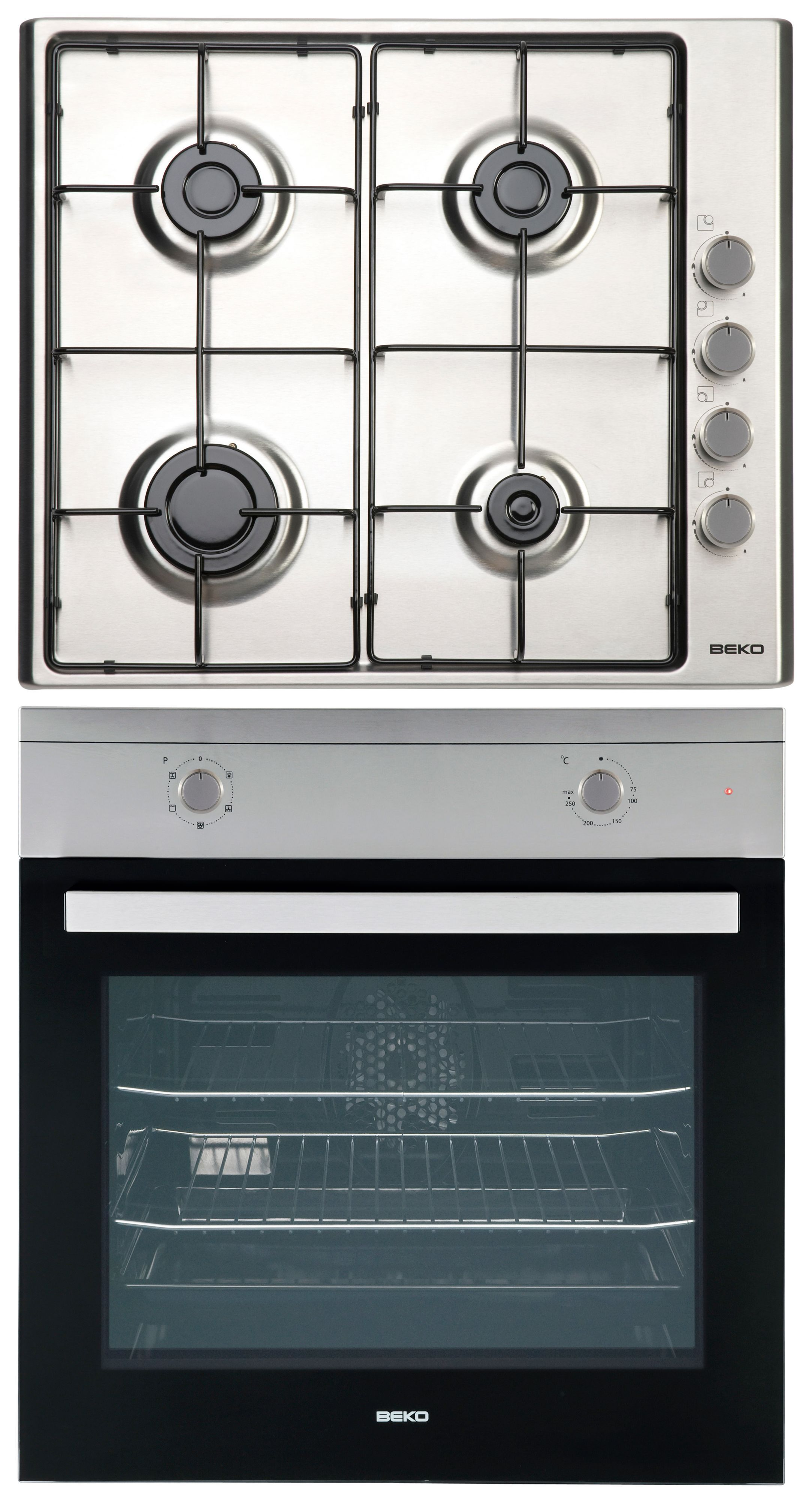 Cocina Gas Beko Beko Qsf213sx Stainless Steel Single Fan Oven Gas Hob Pack