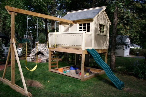 Swing Attached Backyard For Kids Swing Set Playhouse Play