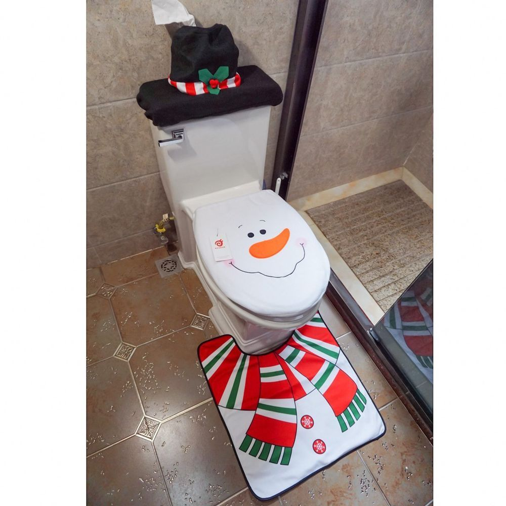 Snowman Bathroom Sets Happy Snowman Toilet Seat Cover Rug Bathroom Set 3pcs Xmas Santa