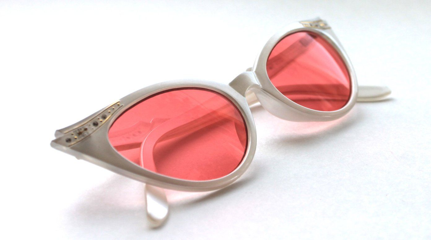 d11b94ce89 Women s small Cat Eye Vintage White Frame Pink Lens Sunglasses with Gold  Rhinestones 50 s Rockabilly