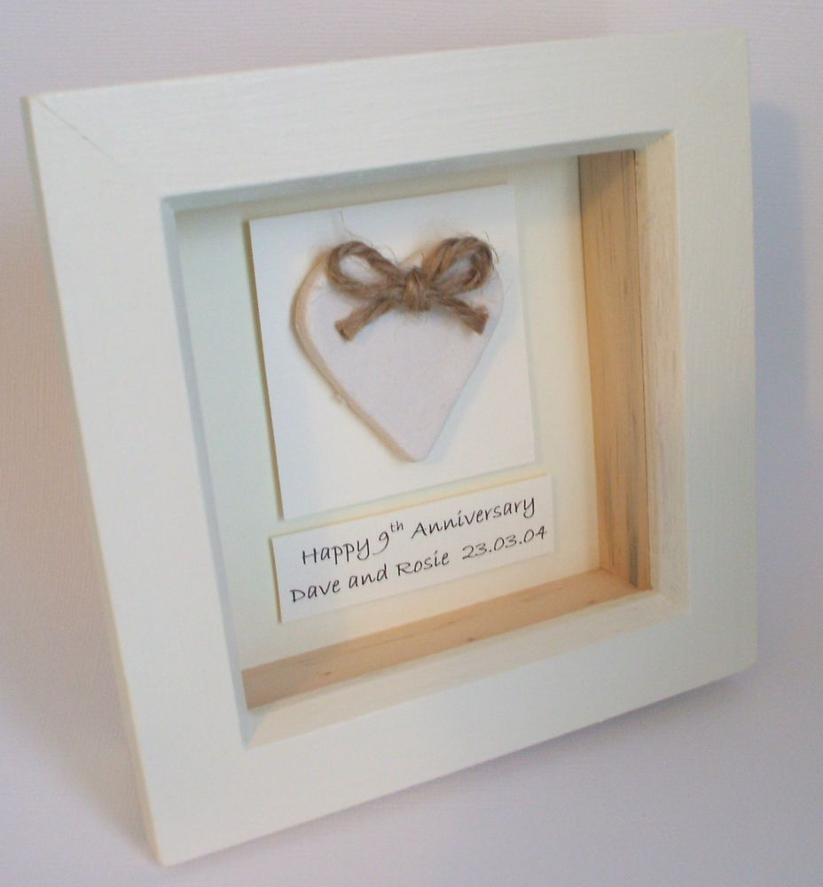 Clay Heart 9th Wedding Anniversary Personalised Gift Keepsake