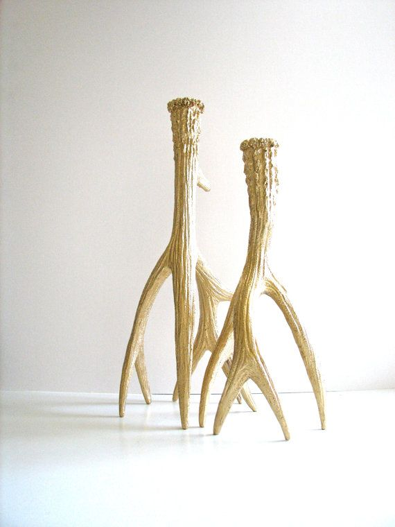 Faux Antler Set Of 2 Candle Holder In All Gold By Mahzerandvee