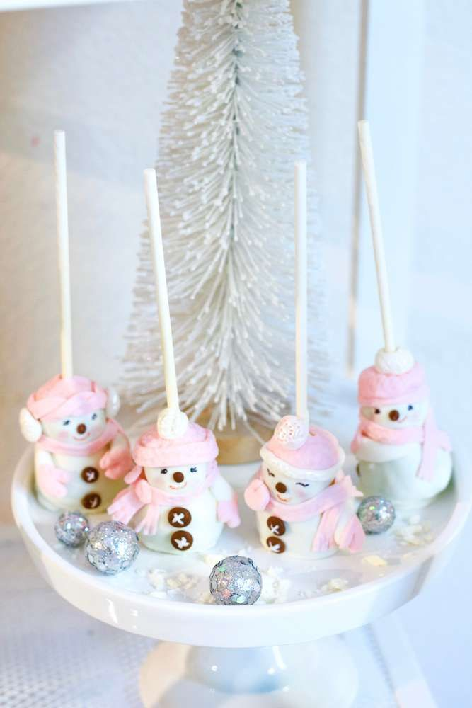 What cute pink snowman cake pops at this Christmas Sugar ...