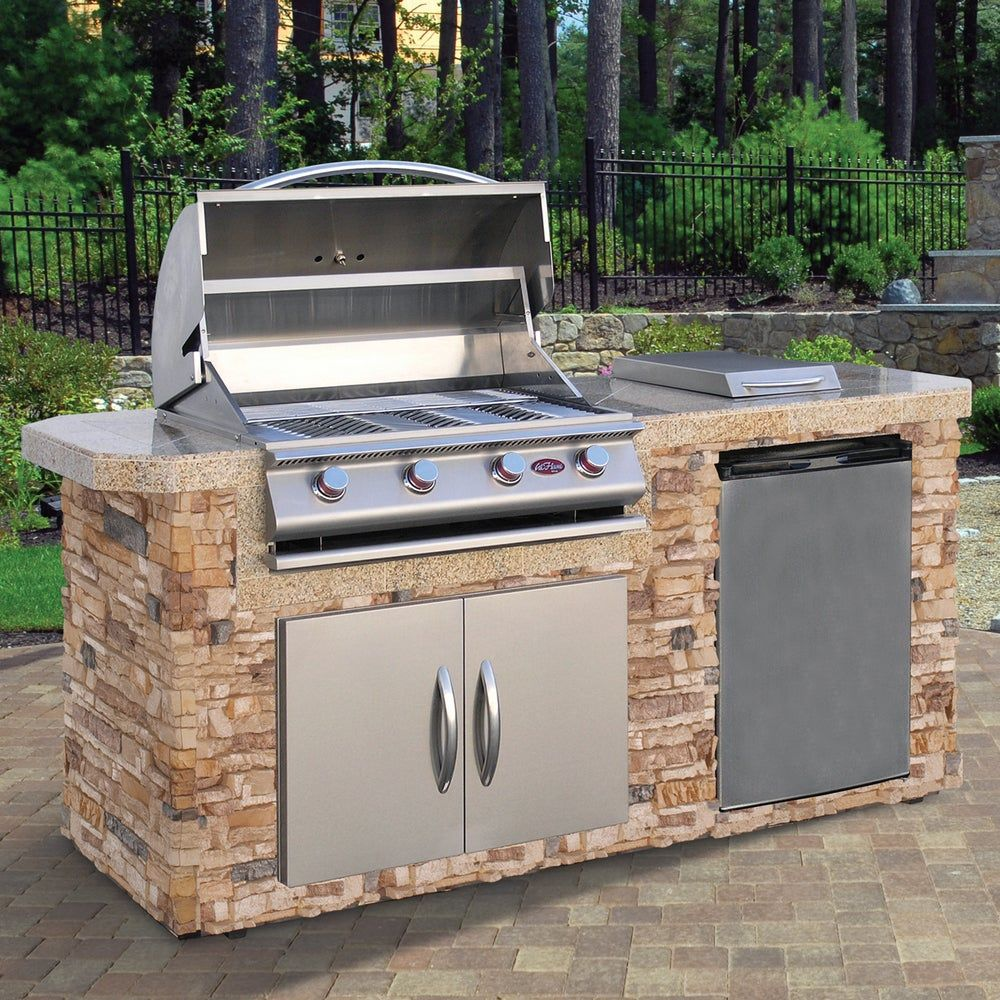 Cal Flame Natural Stone Stainless Steel 7 Foot 4 Burner Grill Island Brown American Spas Gas Grill Outdoor Kitchen Design Grill Island Built In Grill