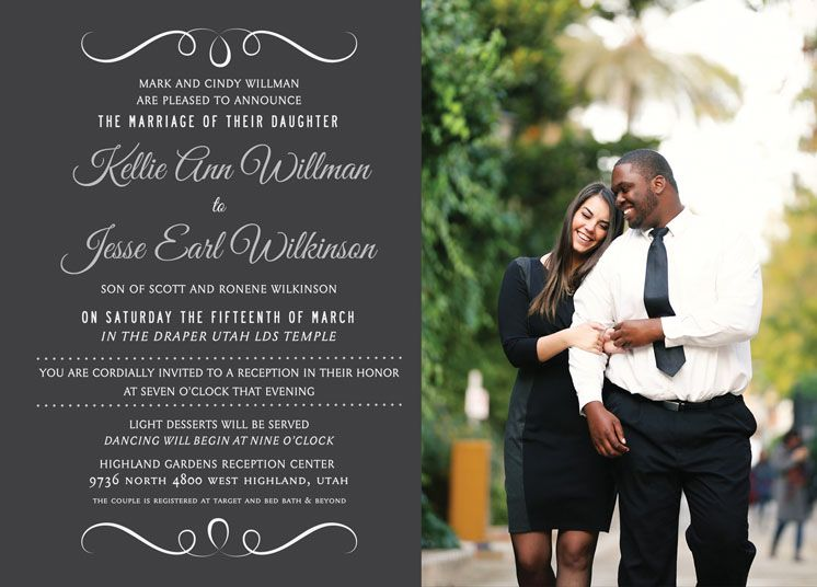 Wedding Invitation Ideas Utah Announcements Lds Wedding Invitations Wedding Announcements Wedding Announcements Wording