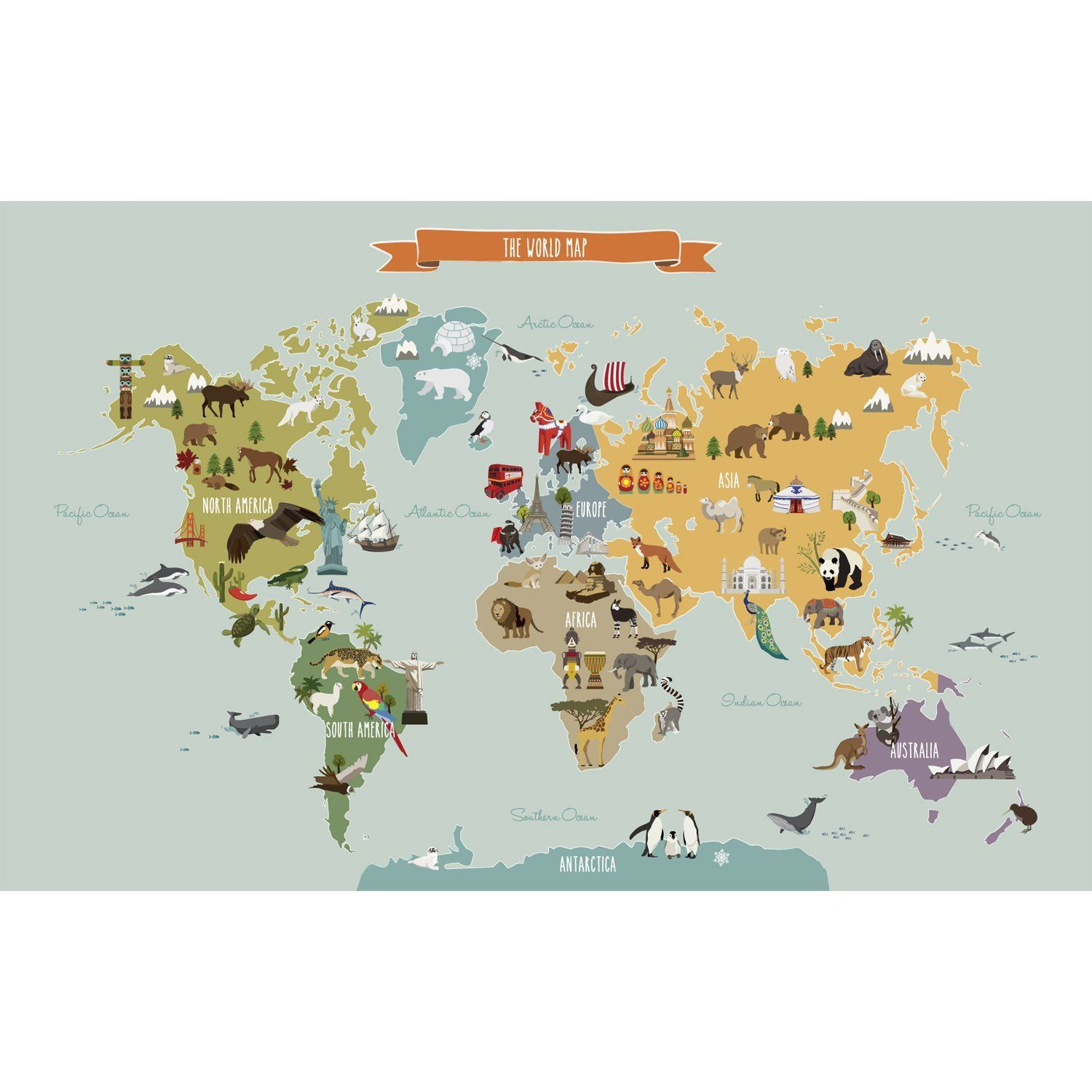 Amazon world map peel and stick wall print small 38 w x 24 amazon world map peel and stick wall print small 38 w x 24 h gumiabroncs Image collections