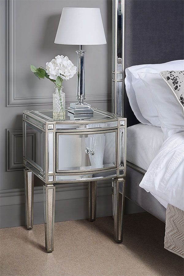 Mirrored Bedside Table With Drawers: Antoinette Toughened Mirror One Drawer Bedside Table In