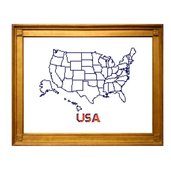 Usa Map Cross Stitch Pattern With State Outlines Complete As You