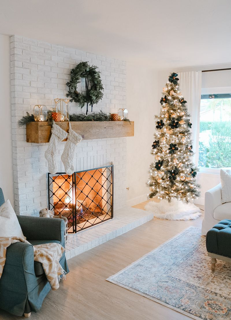 Modern Farmhouse Christmas Living Room with Navy + Copper ...