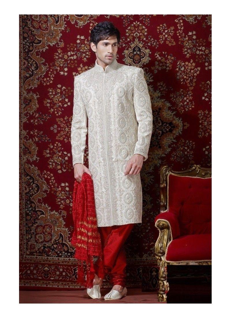 Fabulous off white banarasi giccha sherwani model yoshv