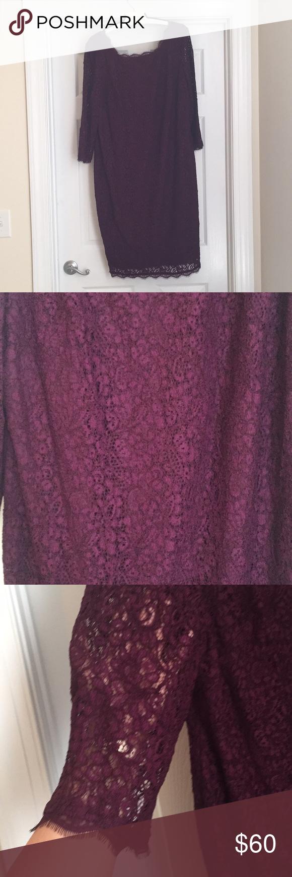 Adrianna Papell Plum Lace Overlay dress