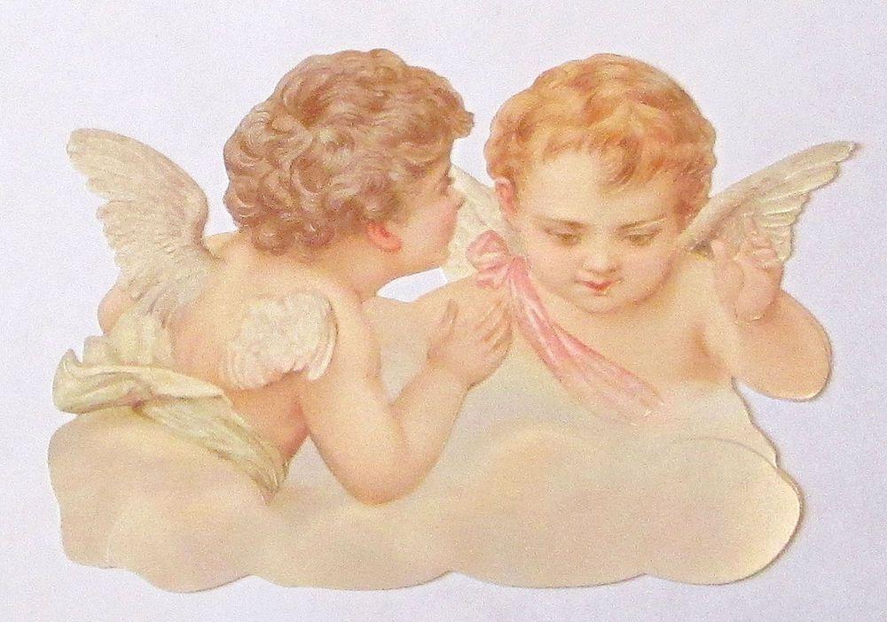 VICTORIAN GERMAN LG DIE CUT SCRAP EF 5159 CUTE ANGELIC CHRISTMAS ANGEL CHERUBS #ef