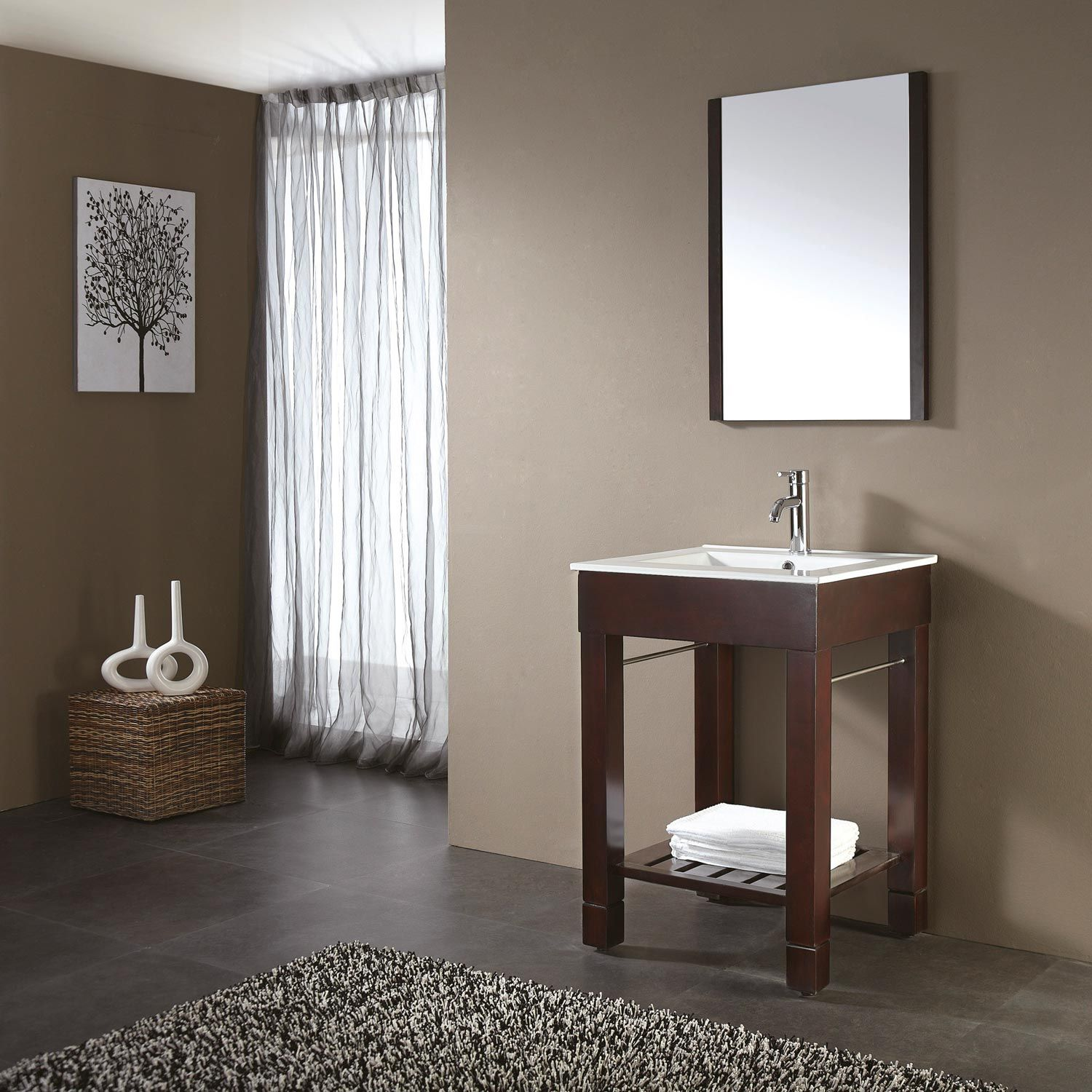 24 Quot Loft Bathroom Vanity Dark Walnut Home Pinterest