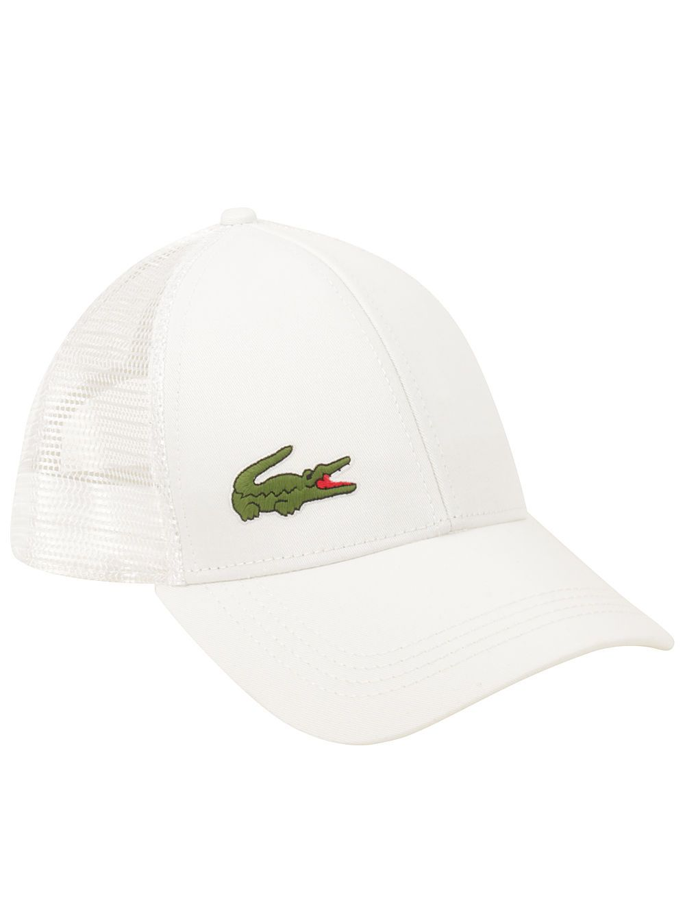 2f7bf1a10e1d0 Lacoste Men S Premium Sport Adjustable Gabardine Mesh Hat Croc Logo White