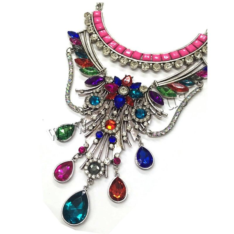 Crystal Zinc Alloy Necklace, with Crystal & Resin, with 2.3lnch extender chain, platinum color plated, twist oval chain & for woman & faceted & with rhinestone, nickel, lead & cadmium free, 100mm,china wholesale jewelry beads