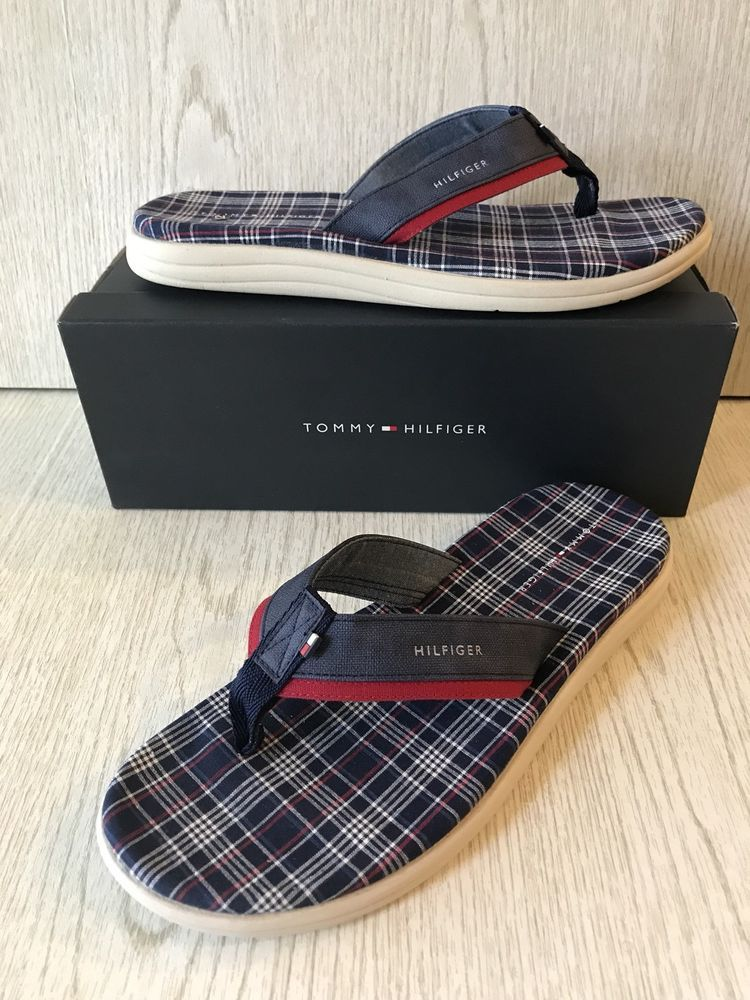48a62c1fad13 Tommy Hilfiger Men s Flip Flops Size 12 Blue Red Plaid Thong New ...