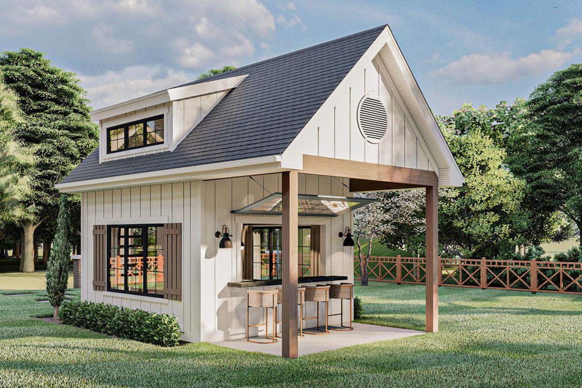 Plan 62925dj Modern Farmhouse Backyard Office Plan With Loft In 2021 Backyard Office Backyard Guest Houses Tiny Houses Plans With Loft Modern farmhouse backyard office plan with loft