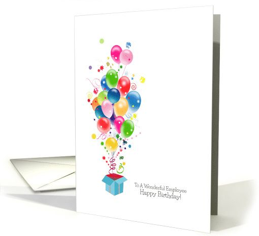 Employee Birthday Cards, Colorful Balloons Coming Out Of Gift Box ...
