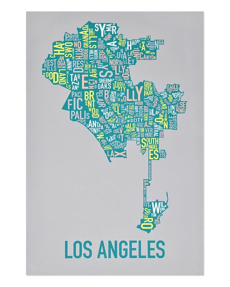 Los Angeles Neighborhood Map Poster Screen Printing Los Angeles Neighborhoods Map