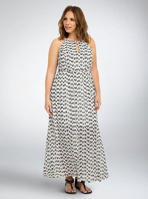 Arrow Print Halter Maxi Dress, ARROWHEAD ANGLES  Size 4 or 5